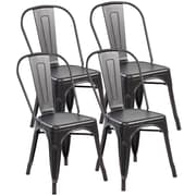 United Chair Industries LLC Metal Stackable Side Chair (Set of 4); Antique Black Brushing