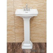 Fine Fixtures Roosevelt 18.12'' Pedestal Bathroom Sink w/ Overflow; White
