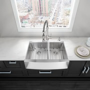 Vigo Alma 33 inch Farmhouse Apron 60/40 Double Bowl 16 Gauge Stainless Steel Kitchen Sink; No