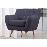 Madison Home USA Mid-Century Modern Tufted Fabric Club Chair; Polo Blue with Color Buttons