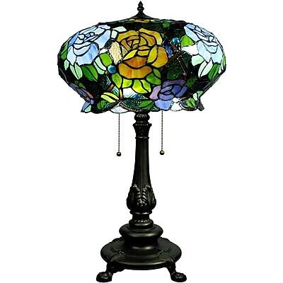 Warehouse of Tiffany Maxenne Roses 27'' Table Lamp; Black Base/Blue Green Shade