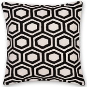 India's Heritage Hexagon Hand Embroidery Throw Pillow; Black