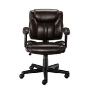 Staples Mid-Back Leather Desk Chair; Brown