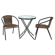 Laurel Foundry Modern Farmhouse Chapman 3 Piece Bistro Set; Black Frame with Brown Rattan