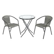 Laurel Foundry Modern Farmhouse Chapman 3 Piece Bistro Set; Gray Frame with Gray Rattan