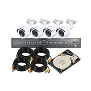 4-Channel DVR Kit with 4x 720p Infrared Cameras, 4x 50 ft. Siamese Camera Cables, and a 500GB Hard Drive