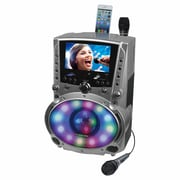 "Karaoke USA DVD/CDG/MP3G Karaoke Machine with 7"" TFT Color Screen, Record, Bluetooth and LED Sync Lights (GF758)"