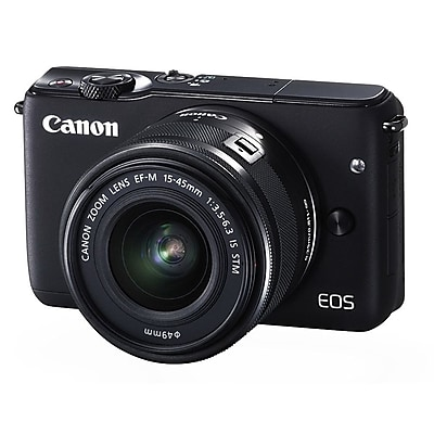 Canon EOS M10 18 MP Mirrorless Camera with Lens, 3x, 15 mm - 45 mm, Black 2580945