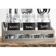Home Essentials and Beyond Utensil Caddy/Glass Jar w/ Wooden Tray (Set of 3)