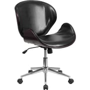 Flash Furniture Mid-Back Leather Desk Chair; Mahogany / Black