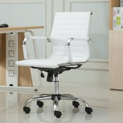 Roundhill Furniture Panoton Contemporary Mid-Back Office Desk Chair; White