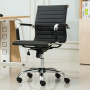 Roundhill Furniture Panoton Contemporary Mid-Back Office Desk Chair; Black
