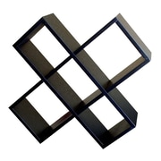 ORE Furniture Crisscross Wall 18'' Accent Shelves Bookcase; Black