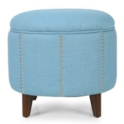 AdecoTrading Button Tufted Lift Round Storage Ottoman; Blue