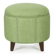 AdecoTrading Button Tufted Lift Round Storage Ottoman; Green