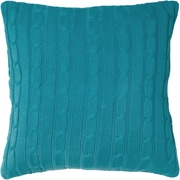 Wildon Home   Cable Knit Wooden Button Closure Throw Pillow; Turquoise