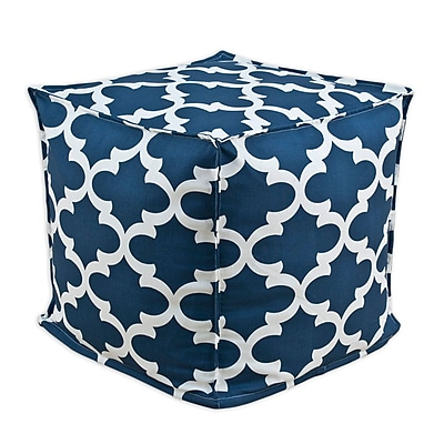 Brite Ideas Living Fynn Macon Square Seamed Beads Ottoman; Cadet WYF078278915351
