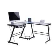 Merax L-Shape Writing Desk; Black/Clear Glass