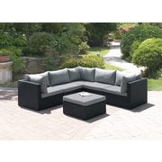 JB Patio Wicker 6 Piece Sectional Seating Group Set; Modern Black