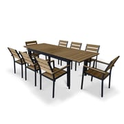 Urban Furnishings 9 Piece Extendable Outdoor Dining Set; Brown