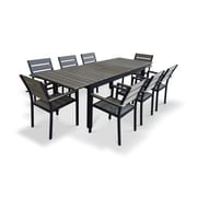 Urban Furnishings 9 Piece Extendable Outdoor Dining Set; Gray