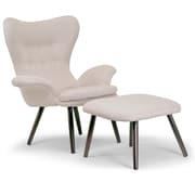 Glamour Home Decor 2 Piece Akari Fabric Accent Arm Chair and Ottoman