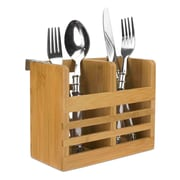 Home Basics Bamboo Cutlery Holder w/ Hooks