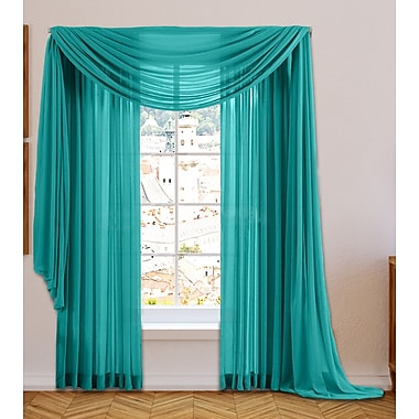 hlc me sheer voile window scarf curtain valance gray teal