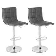 AdecoTrading Adjustable Height Swivel Bar Stool (Set of 2); Gray