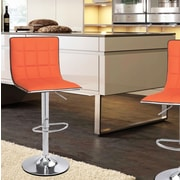 AdecoTrading Adjustable Height Swivel Bar Stool (Set of 2); Orange