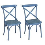 AdecoTrading Eco-Friendly Nylon Vintage Side Chair (Set of 2); Blue