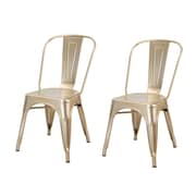 AdecoTrading Side Chair (Set of 2); Gold