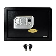 "Pyle® Electronic Fingerprint Safe Box with Mechanical Override, 9.8"" x 9.8"" Black (SLSFE18FP)"
