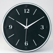 "Tempus Transitional Wood Wall Clock with Daylight Savings Auto-Adjust Movement, 12"", Black Face and Frame (TC6011B)"
