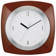 "Tempus Transitional Wood Wall Clock with Daylight Savings Auto-Adjust Movement, 12"", Walnut Finish (TC7902BR)"