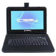"LINSAY F10XHDBK 10"" Quad Core Tablet w/ Black Keyboard Android"