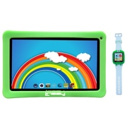 """LINSAY F10KGWG 10"""" Quad Core Tablet w/ Green Kids Defender Case Android and 1.5"""" Smart Watch Kids Cam Selfie Green"""