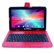 "LINSAY F10XHDBKCOREDW 10"" Quad Core Tablet w/ Red Crocodile Style Keyboard Android"