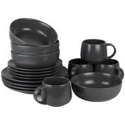 Ten Strawberry Street Wazee Matte 16 Piece Dinnerware Set; Charcoal Gray