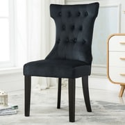 Belleze Premium Nailhead Parson Chair (Set of 2); Black