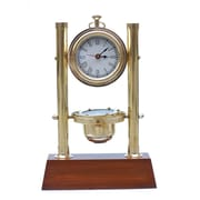 Handcrafted Nautical Decor Tabletop Clock w/ Compass and Thermometer