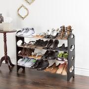 Everyday Home 4 Tier Stackable Shoe Rack 16 Pair Capacity - Black