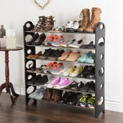 Everyday Home Stackable Shoe Rack, Black, 4 Tier or 6 Tier