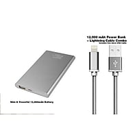 Dual USB Port Slim 12000mAh Portable Battery plus Lightning Cable and USB Cable