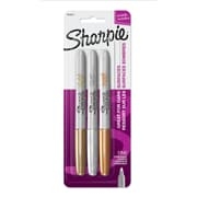 Sharpie Metallic Permanent Markers, Fine Point, Assorted Metallic, 3 Count