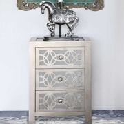 River of Goods Slam Mirrored 3 Drawer Chest; Silver