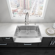 Vigo 36 inch Farmhouse Apron Single Bowl 16 Gauge Stainless Steel Kitchen Sink w/ Grid and Strainer