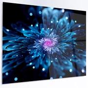DesignArt 'Blue Fractal Flower w/ Shiny Particles' Graphic Art on Metal; 12'' H x 28'' W x 1'' D