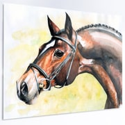 DesignArt 'Brown Horse Portrait Painting' Painting Print on Metal; 12'' H x 28'' W x 1'' D