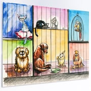 DesignArt 'Sad Animals in the Pound' Painting Print on Metal; 12'' H x 28'' W x 1'' D